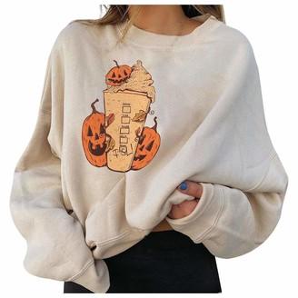 Hansee Clearance Halloween Fashion Women Casual Long Sleeve Pumpkin Printed Ladies Sweatshirt Tops Beige