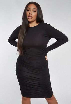 Missguided Plus Size Black Ruched Side Bodycon Midi Dress