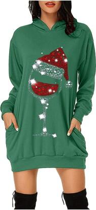 Tdzd Women's Long Hoodies Sweatshirt Pullovers Wine Glass Christmas Hat Sweatshirt Dress Ladies Xmas Hoodie Dress