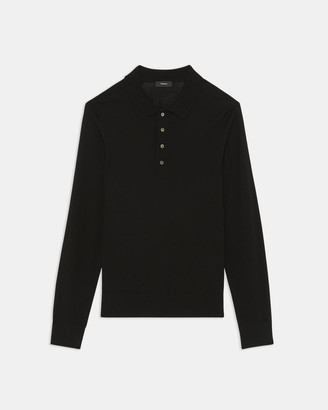 Theory Long-Sleeve Polo Shirt in Regal Wool