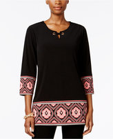 JM Collection Printed Keyhole Tunic, Only at Macy's