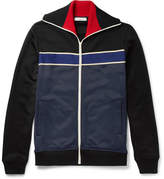 Valentino Cotton-blend Jersey Zip-up Sweater - Navy
