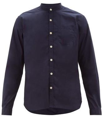Oliver Spencer Grandad-collar Organic Cotton Shirt - Mens - Navy