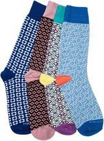 PHILOSOCKPHY Funky Socks-Mens Socks-(4 Pair Gift Pack)-Funky Dress Socks Designs