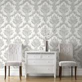 Graham & Brown 56 sq. ft. White and Silver Opal Damask Wallpaper