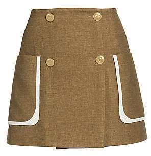 Fendi Women's Tweed-Print Flannel Mini Skirt