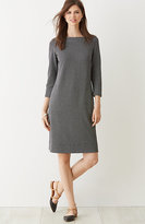 J. Jill Ponte Knit Mini-Check Boat-Neck Dress