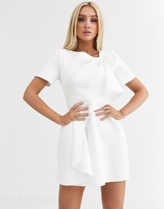 Asos Design DESIGN tshirt tuck detail mini skater dress-White
