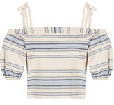 Lemlem Halima Off-the-shoulder Striped Cotton And Linen-blend Top - Sky blue