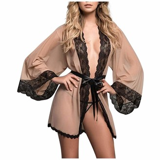 DESIBA Women Sexy Slip Satin Nightwear Lace Cami Padded Unpadded Flower Pajamas v-Neck Sleepwear Floral Silk Nighty(Khaki S)