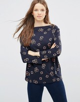 French Connection Cowl Front Top in Ditsy Floral Print