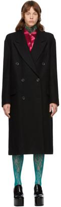 Dries Van Noten Black Wool Double-Breasted Coat