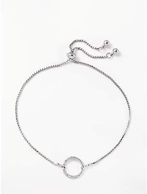 John Lewis & Partners Cubic Zirconia Circle Slider Chain Bracelet