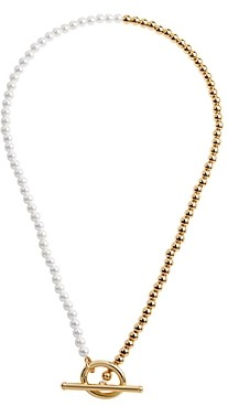 BaubleBar Gia Simulated Pearl & Bead Color-Blocked Toggle Necklace, 14