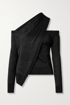 RtA Juliet One-shoulder Draped Wool And Lurex-blend Sweater - Black