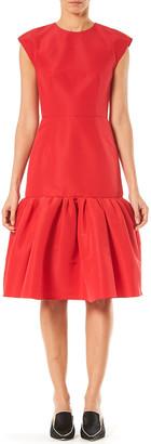 Carolina Herrera Silk-Taffeta Bow-Back Flounce Dress