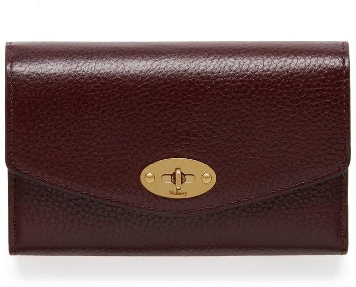 Mulberry Medium Darley Wallet Oxblood Natural Grain Leather