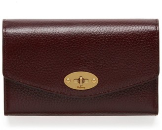 Mulberry Medium Darley Wallet Oxblood Natural Grain Leather