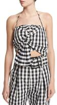 KENDALL + KYLIE Knot-Front Halter Top, Gingham