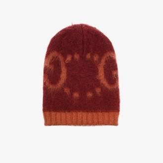 Gucci orange GG logo intarsia beanie hat
