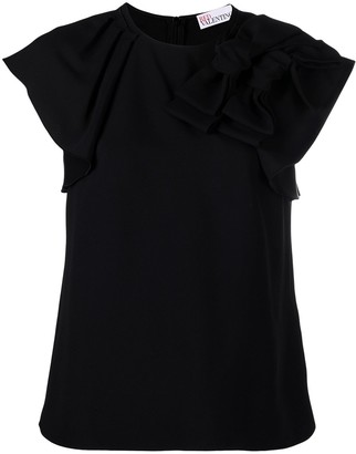 RED Valentino bow detail frill sleeve T-shirt