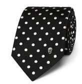 Alexander McQueen 6cm Polka-dot Woven Silk Tie - Black