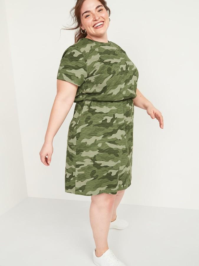 Old Navy Waist-Defined Slub-Knit Plus-Size T-Shirt Dress