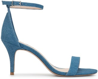 Schutz Denim Mid-Heel Sandals