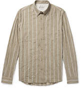 Acne Studios Isherwood Button-Down Collar Crinkled Cotton-Blend Shirt