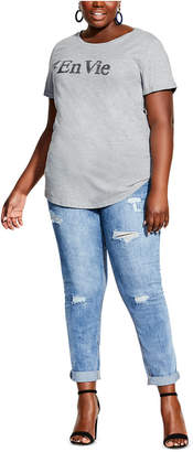 City Chic Trendy Plus Size Cotton En Vie Sparkle Top