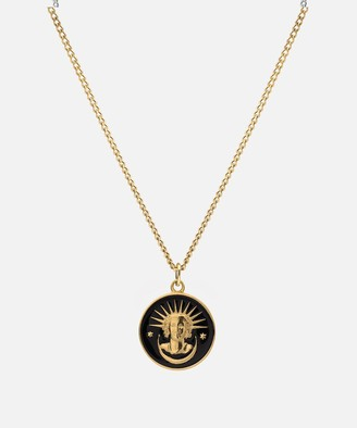 Miansai Lady Liberty Pendant Necklace in Gold Vermiel/Black