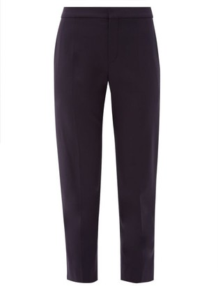 Chloé Mid-rise Cropped Wool-blend Trousers - Womens - Navy