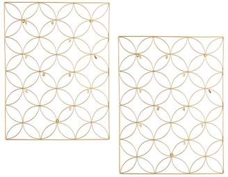 Pottery Barn Teen Floral Wire Photo Grid, Gold, Set of 2