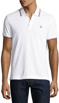 Moncler Tipped Piqué; Polo Shirt, White