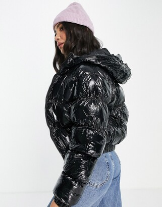 Brave Soul abiona vinyl puffer jacket in black