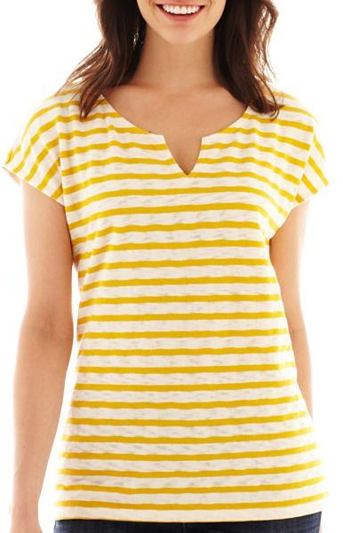 Liz Claiborne Short-Sleeve Textured Tee