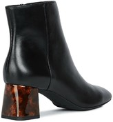 Geox D Seyla C Leather Heeled Ankle Boots - Black