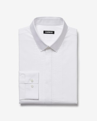 Express Slim Pleated Tuxedo Dress Shirt