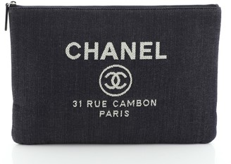 Chanel Deauville Pouch Denim Large