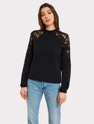 Kinly Brushed Cotton Lace Cutout Sweatshirt