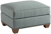Barclay Butera Morgan Ottoman - Teal frame, sand; upholstery, teal; nailheads, old brass