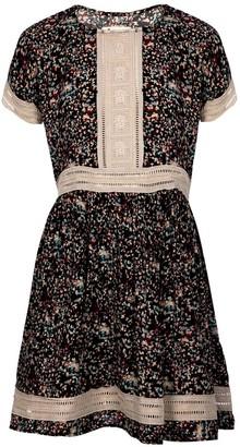 Naftul Vintage Look Printed Midi Eyelet Trim Summer Dress Black