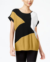 NY Collection Mixed-Media Pleated Top