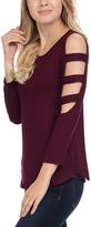 Celeste Wine Cutout-Sleeve Tunic - Plus