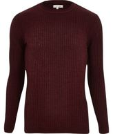 River Island MensBurgundy ribbed slim fit jumper