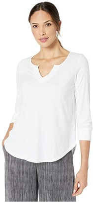 Mod-o-doc Classic Jersey Notch V-Neck 3/4 Sleeve Tee (White) Women's Clothing