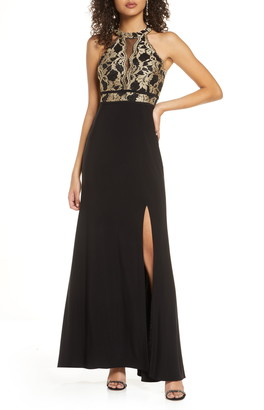 Morgan & Co. Lace Bodice Knit Gown