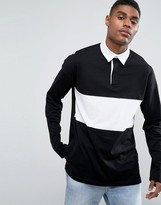 Asos Oversized Long Sleeve Rugby Polo Shirt With Contrast Panel In Black