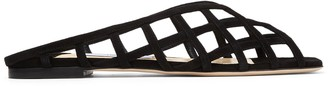 Jimmy Choo SAI FLAT Black Suede Caged Flats