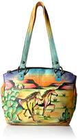 Anuschka Anna Hand Painted Leather Triple Compartment Tote Arizona Mustang